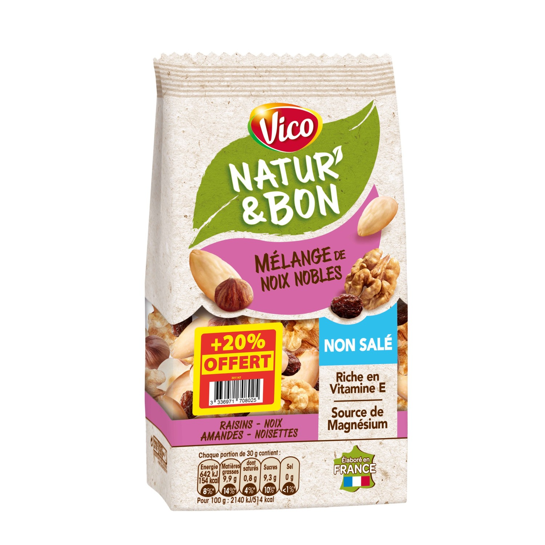 Natur' & Bon mélange de noix nobles non salées, Vico OFFRE SPECIALE (200 g + 20% offerts)