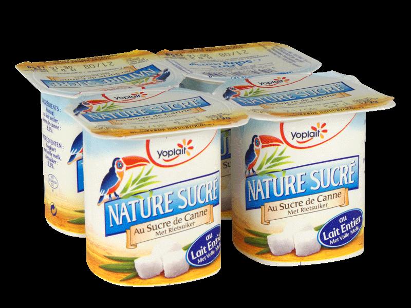 Yaourt nature au sucre de canne, Yoplait (4 x 125 g)
