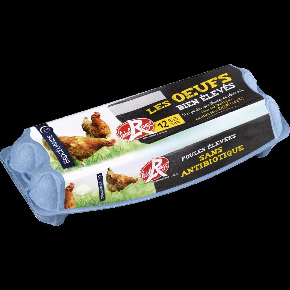 Oeufs Label Rouge sans antibiotique, plein air, sans OGM, Brocéliande (x 12)