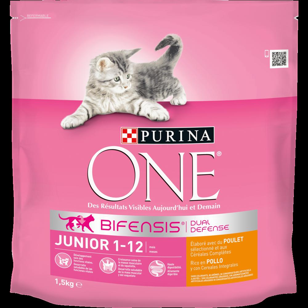 Croquettes au poulet et céréales complètes pour chaton junior, Purina One (1.5 kg)