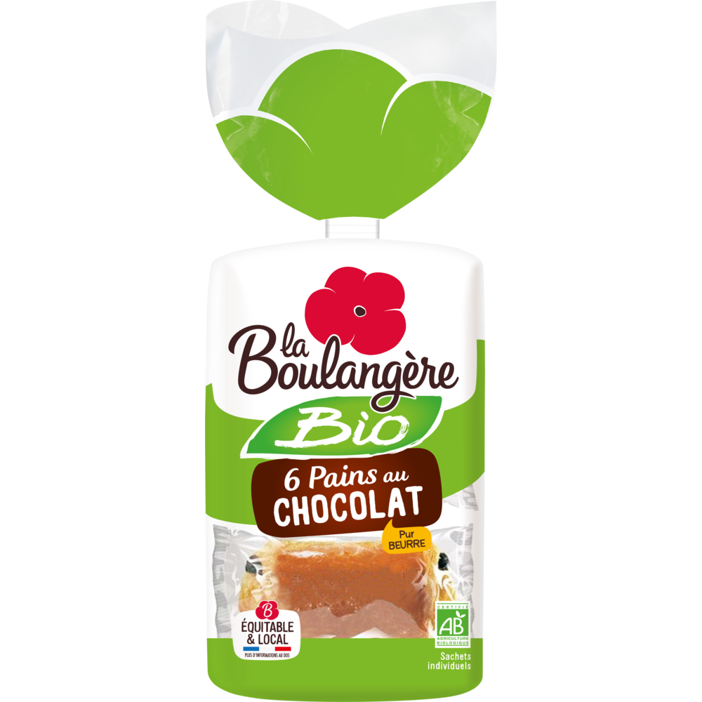 Pain au chocolat BIO, La Boulangère (x 6, 270 g)