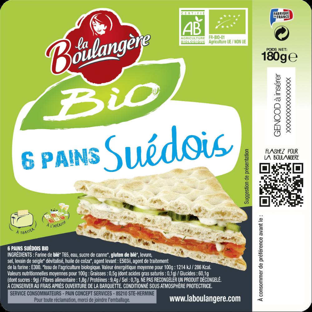 Pain suédois BIO, La Boulangère (x 6, 180 g)