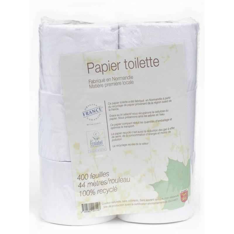 Papier toilette blanc 100% recyclé, Papeco (400 feuilles)