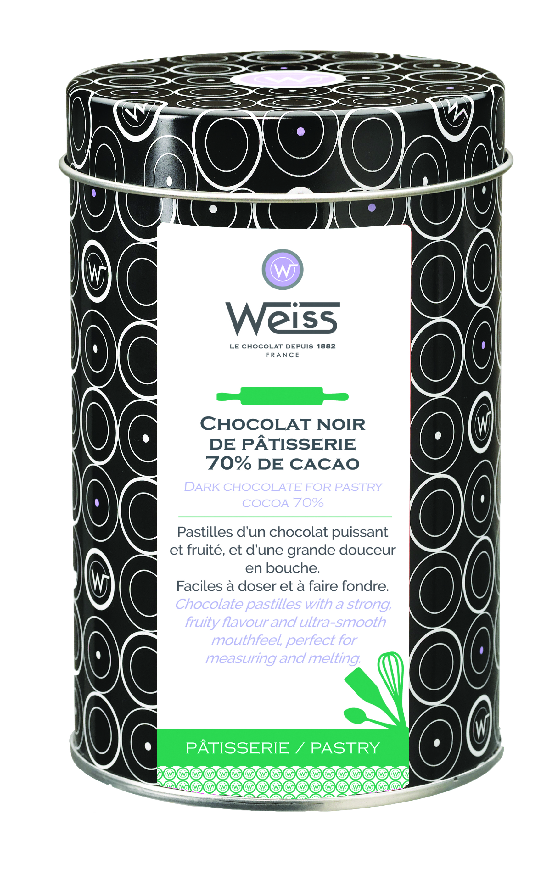 Pastilles de chocolat noir de pâtisserie 70% de cacao, Weiss (400 g)