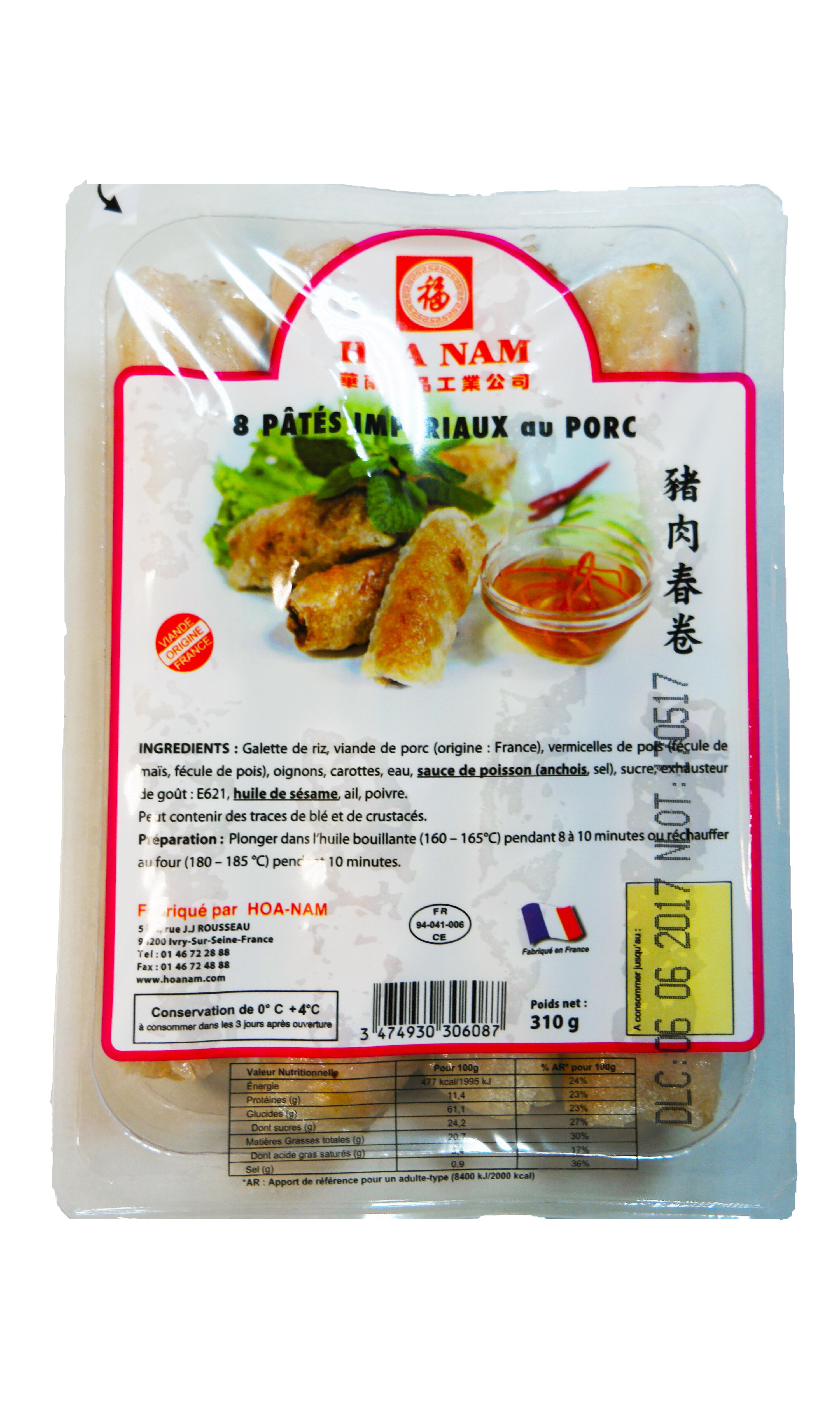 Nems (Pâtés impériaux) au porc 8 pièces, Hoanam (x 8, 310 g)