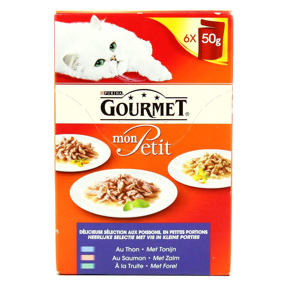 Mon Petit Gourmet poisson pour chat, thon, saumon, truite (6 x 50 g)