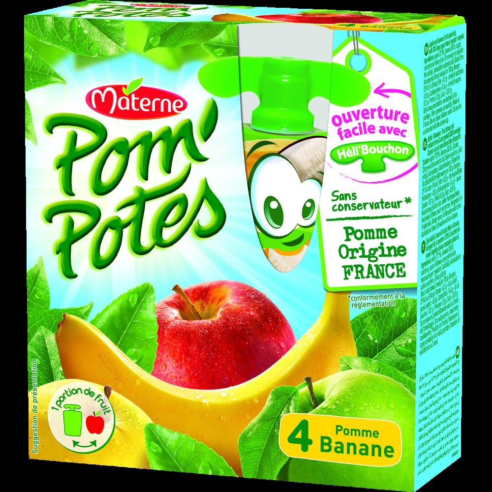 Pom'Potes pomme/banane, Materne (4 x 90 g)