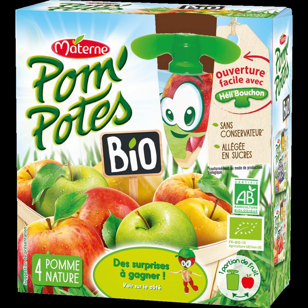 Pom'Potes 30% de sucre en moins pomme nature BIO, Materne (4 x 90 g)