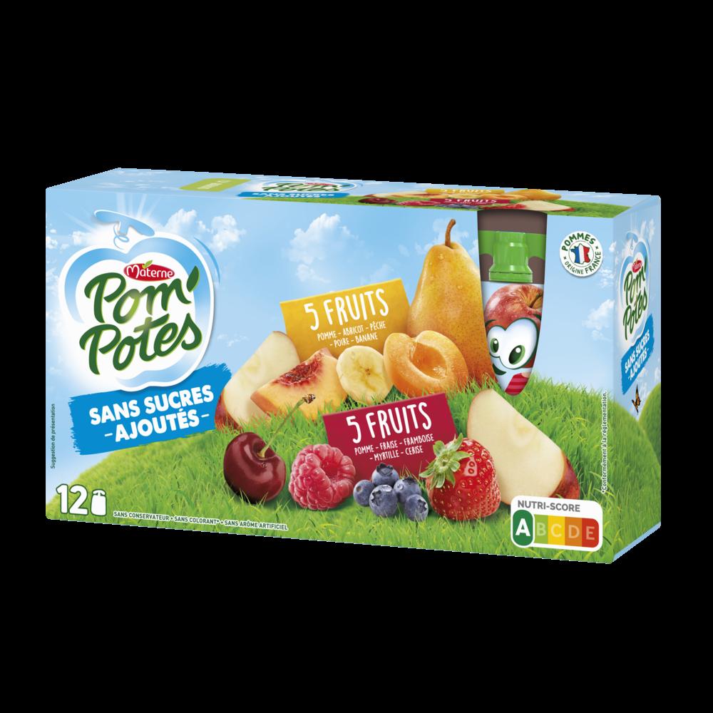 Pom'Potes sans sucres ajoutés 5 fruits rouges/5 fruits jaunes, Materne (12 x 90 g)