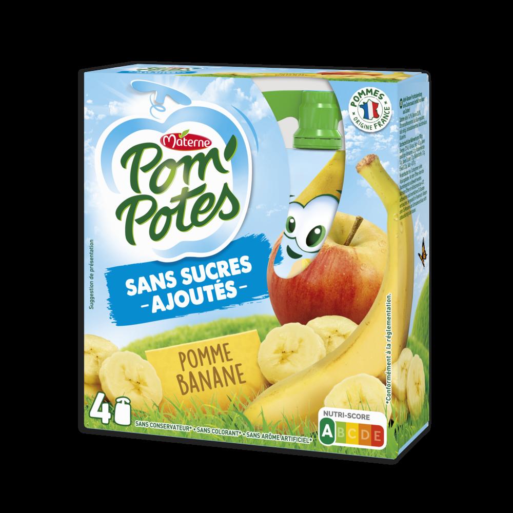 Pom'potes sans sucre ajouté pomme/banane, Materne (4 x 90 g)
