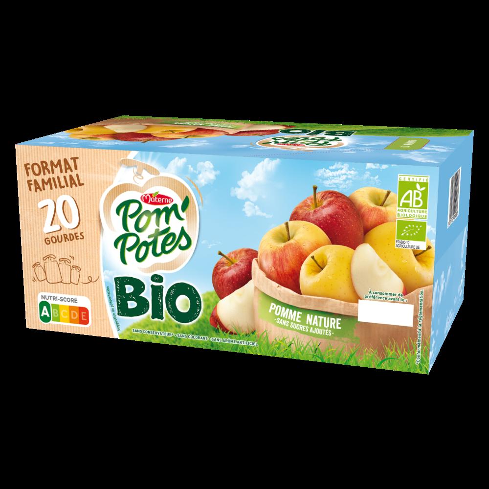 Pom'Potes sans sucres ajoutés pomme BIO, Materne (20 x 90 g)