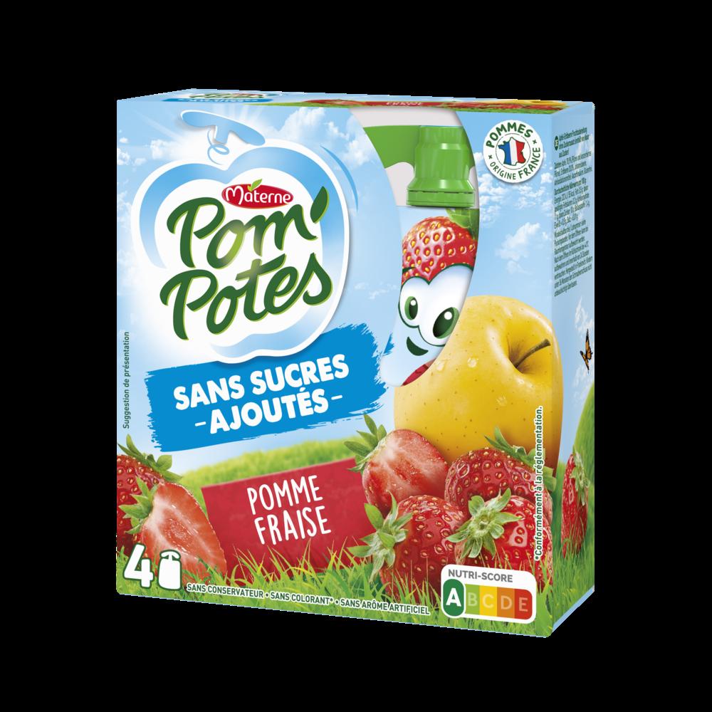 Pom'Potes sans sucres ajoutés pomme/fraise, Materne (4 x 90 g)