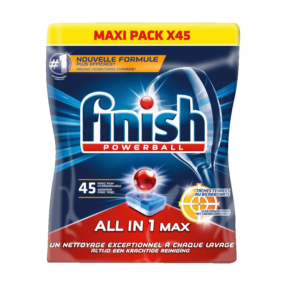 Tablettes lave-vaisselle Powerball tout en 1 bicarbonate de soude, Finish (x 45)