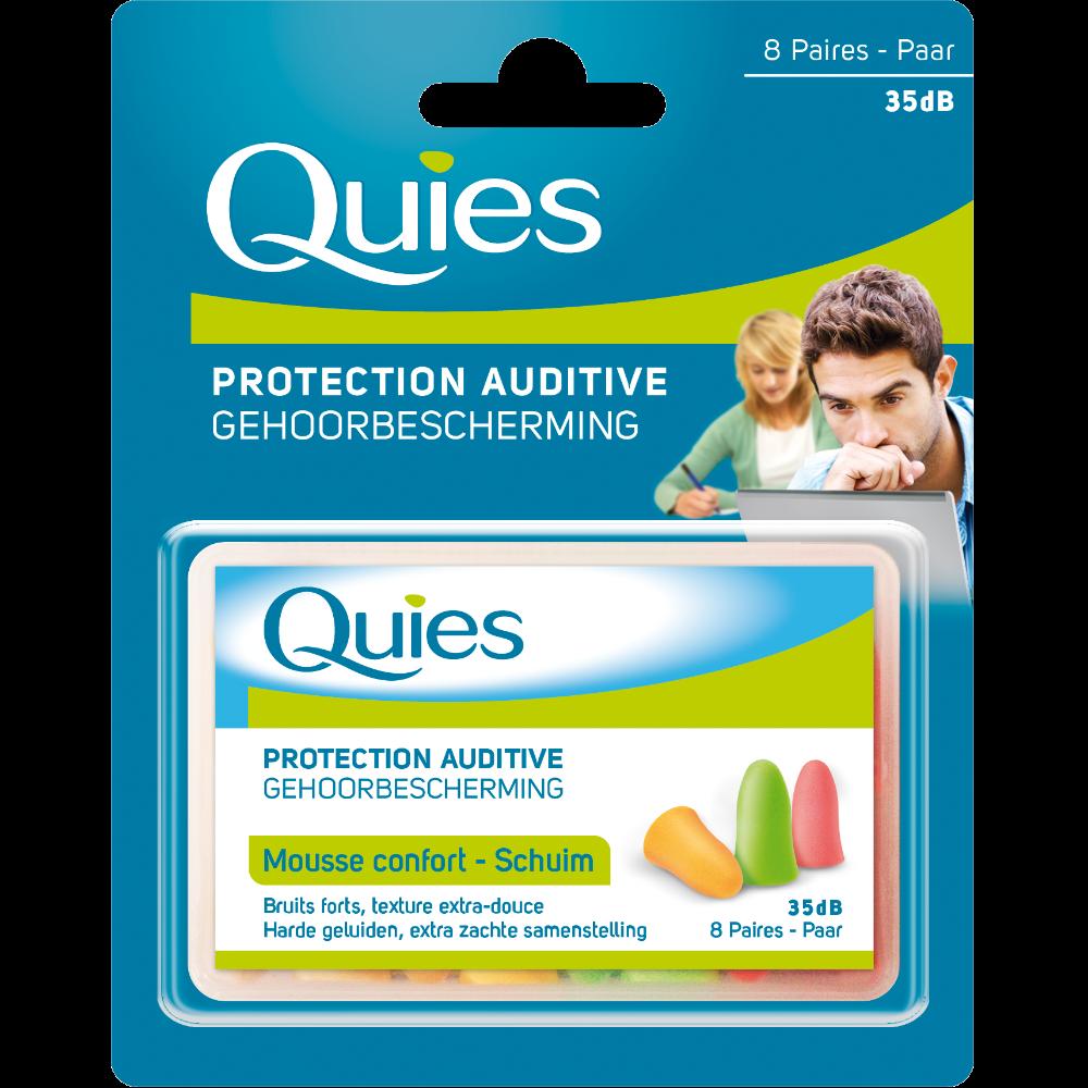 Protections auditives en mousse fluo, Quies (x 8 paires)
