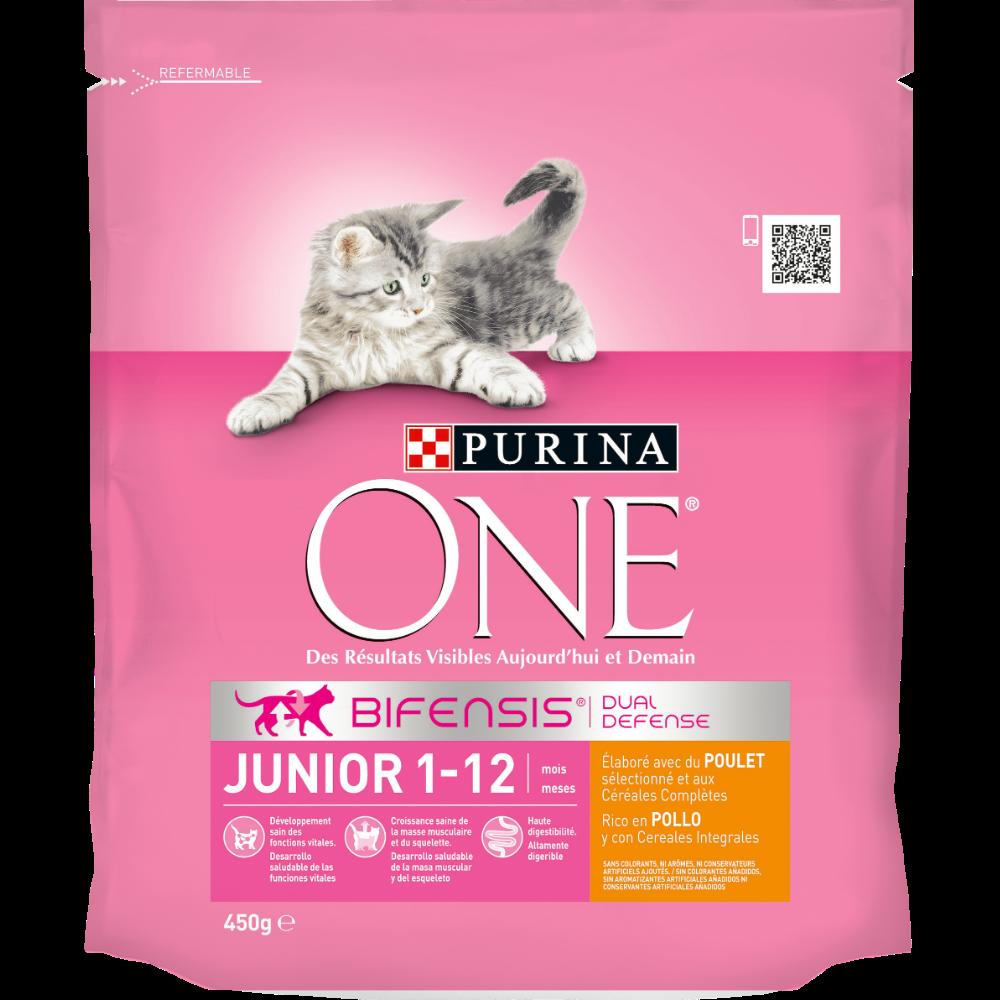 Croquettes au poulet et céréales complètes pour chaton junior, Purina One (450 g)