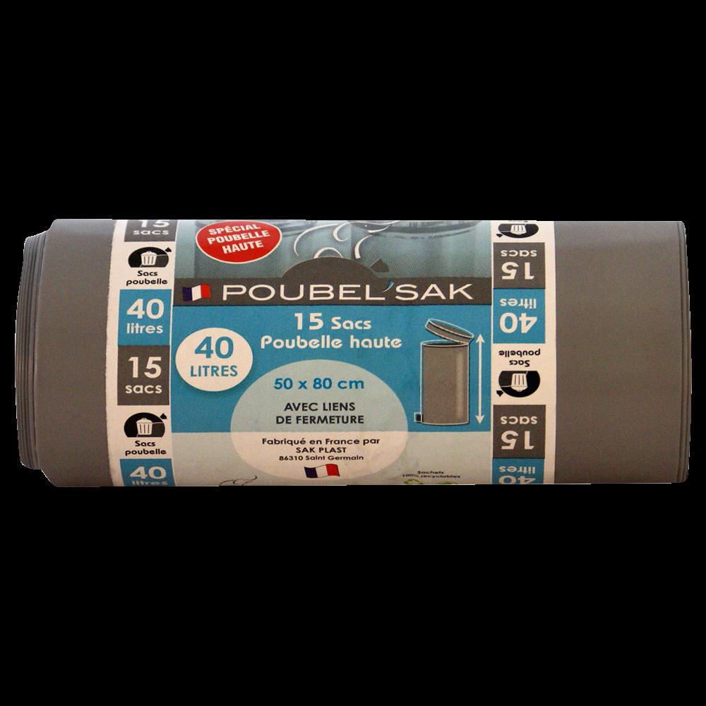 Sacs poubelle haute couleur gris, Poubel'sak (15 x 40 L)