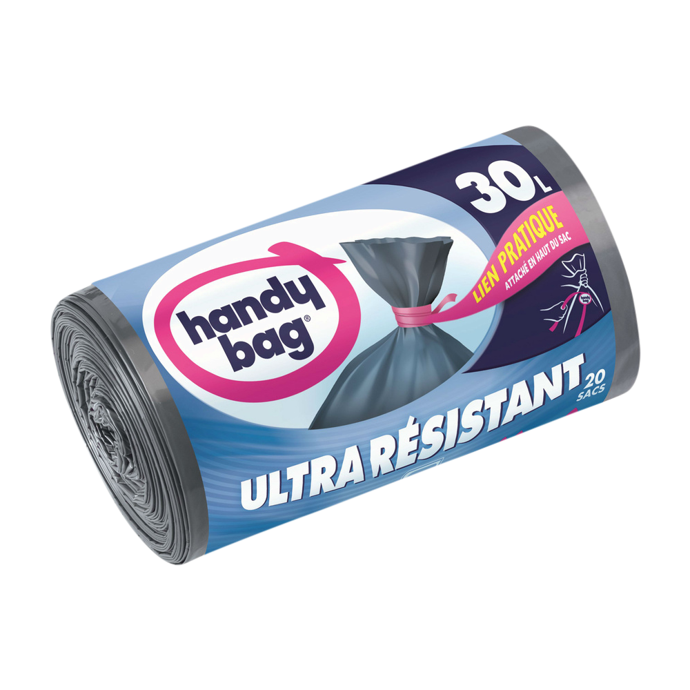 Sacs poubelle aux liens pratiques ultra résistants, Handy Bag (20 x 30 L)