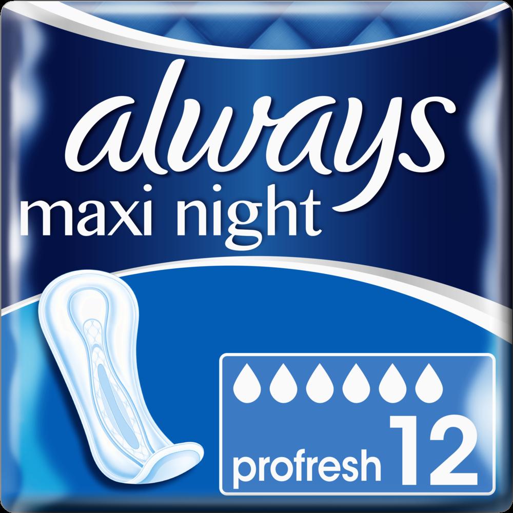 Serviettes Maxi Night ProFresh, Always (x 12)
