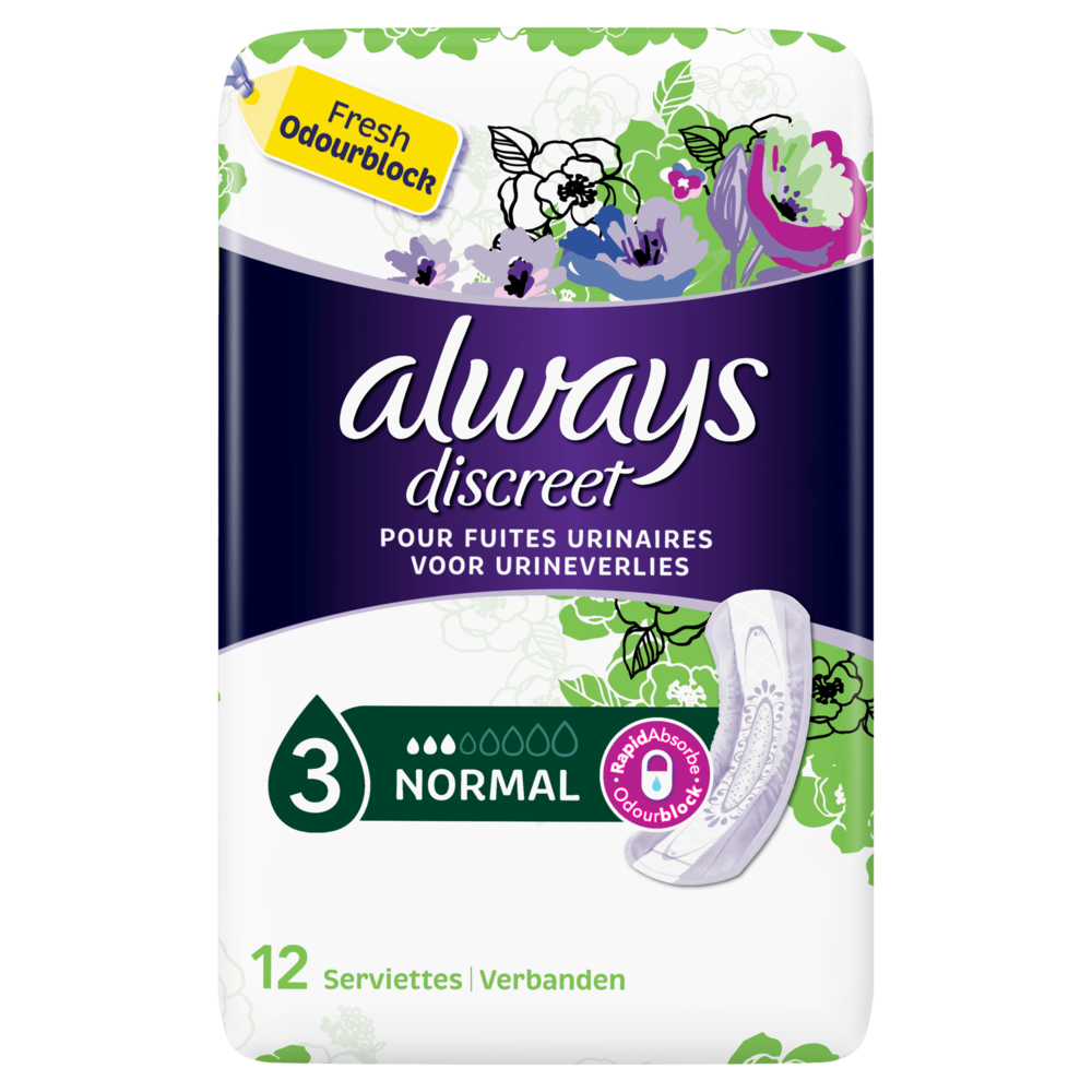 Serviettes pour incontinence normal, Always (x 12)