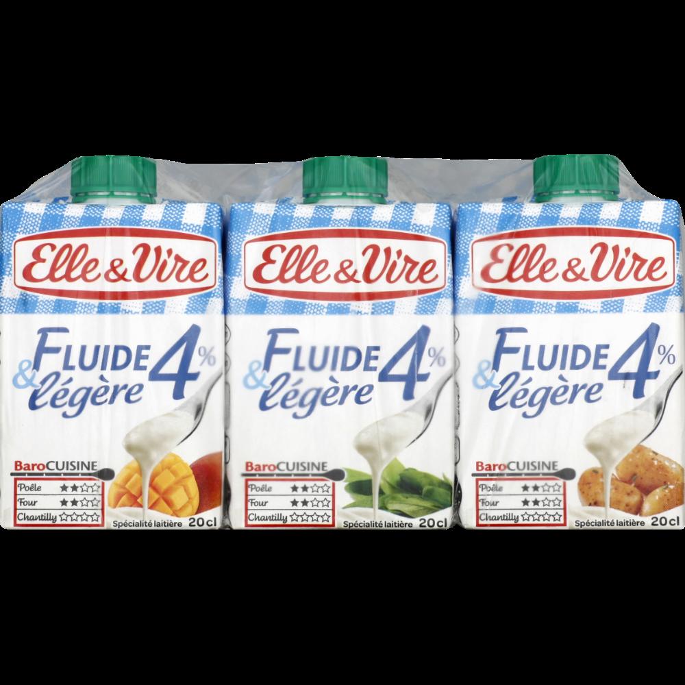 Crème fraiche fluide et légère 4% MG, Elle & Vire (3 x 20 cl)
