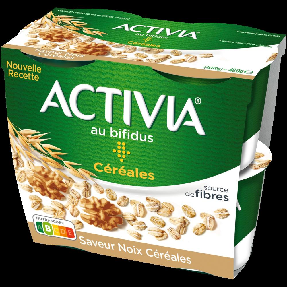 Yaourt noix céréales, Activia (4 x 120 g)