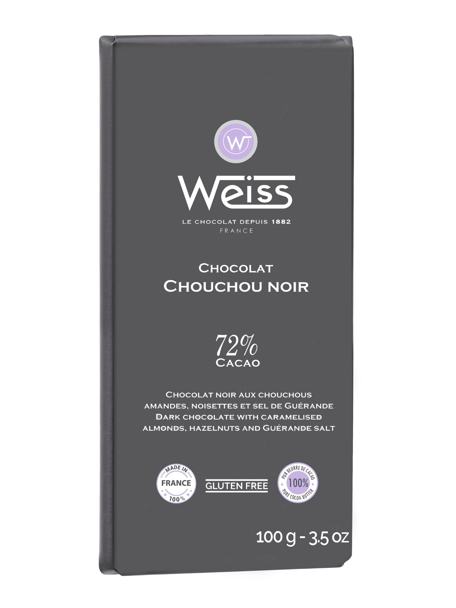 Tablette Chouchou chocolat noir 72% de cacao, Weiss (100 g)
