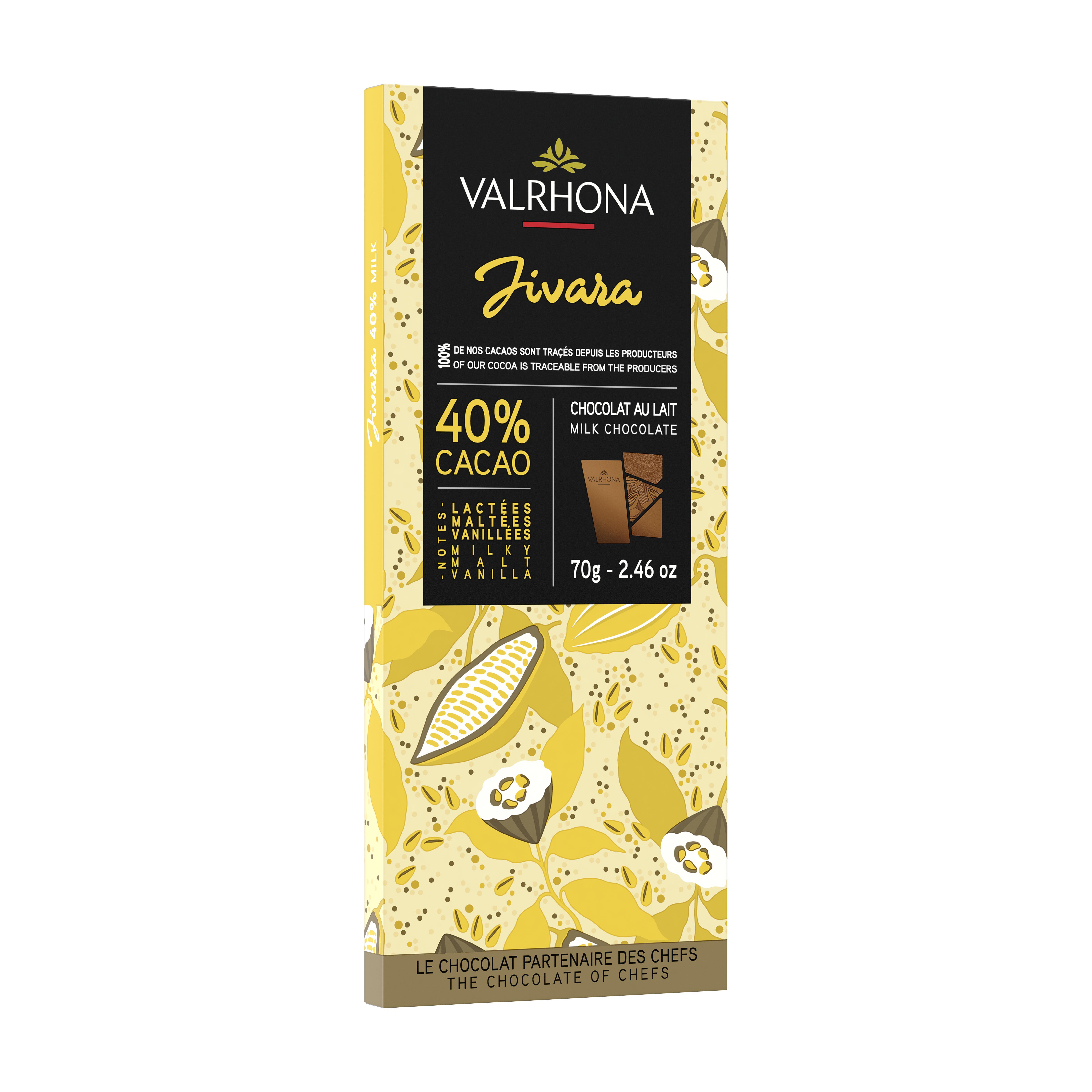 Tablette de chocolat au lait Jivara 40%, Valrhona (70 g)