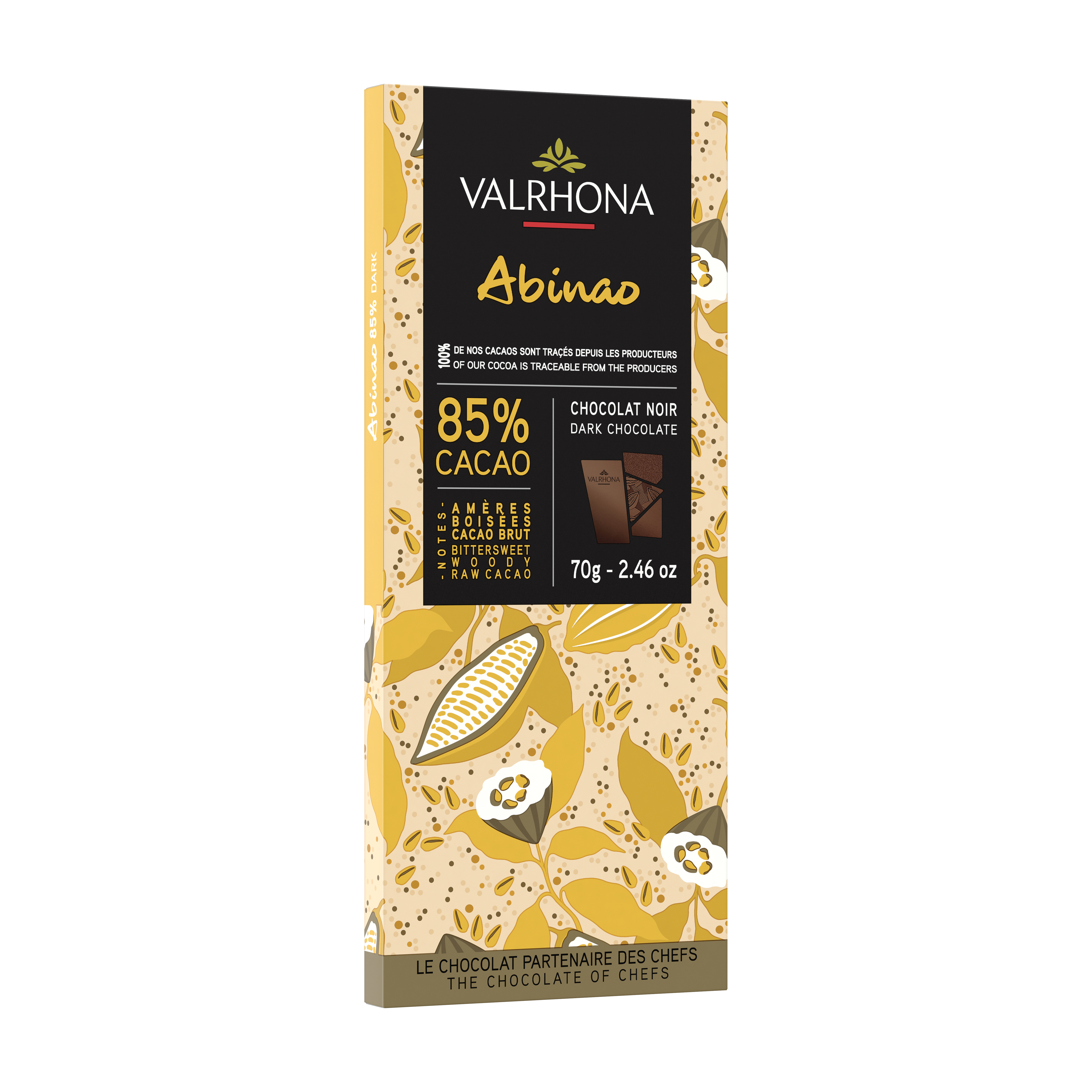 Tablette de chocolat noir Abinao 85%, Valrhona (70 g)