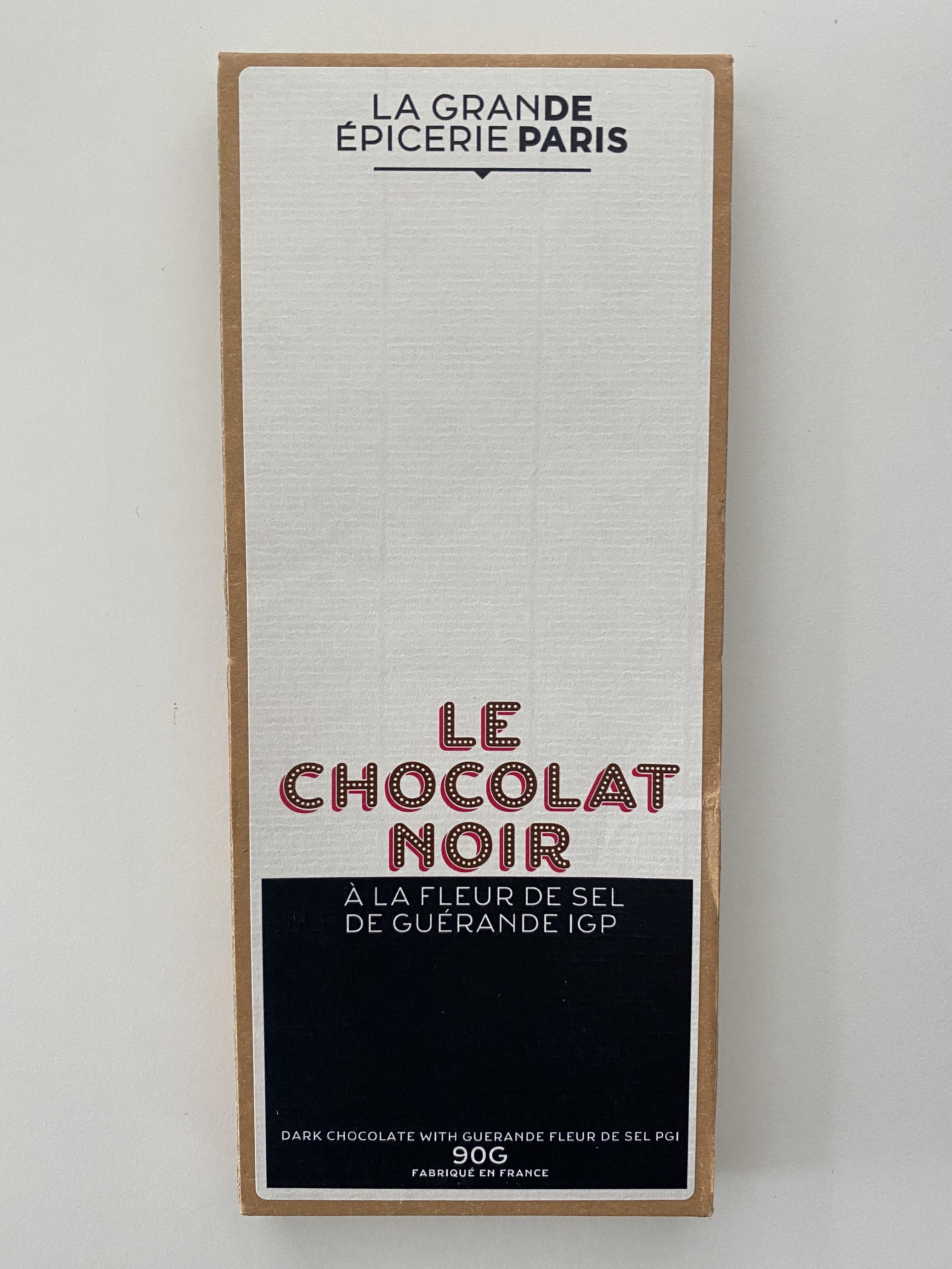 Tablette de chocolat noir à la fleur de sel de Guérande IGP, La Grande Epicerie de Paris (90 g)
