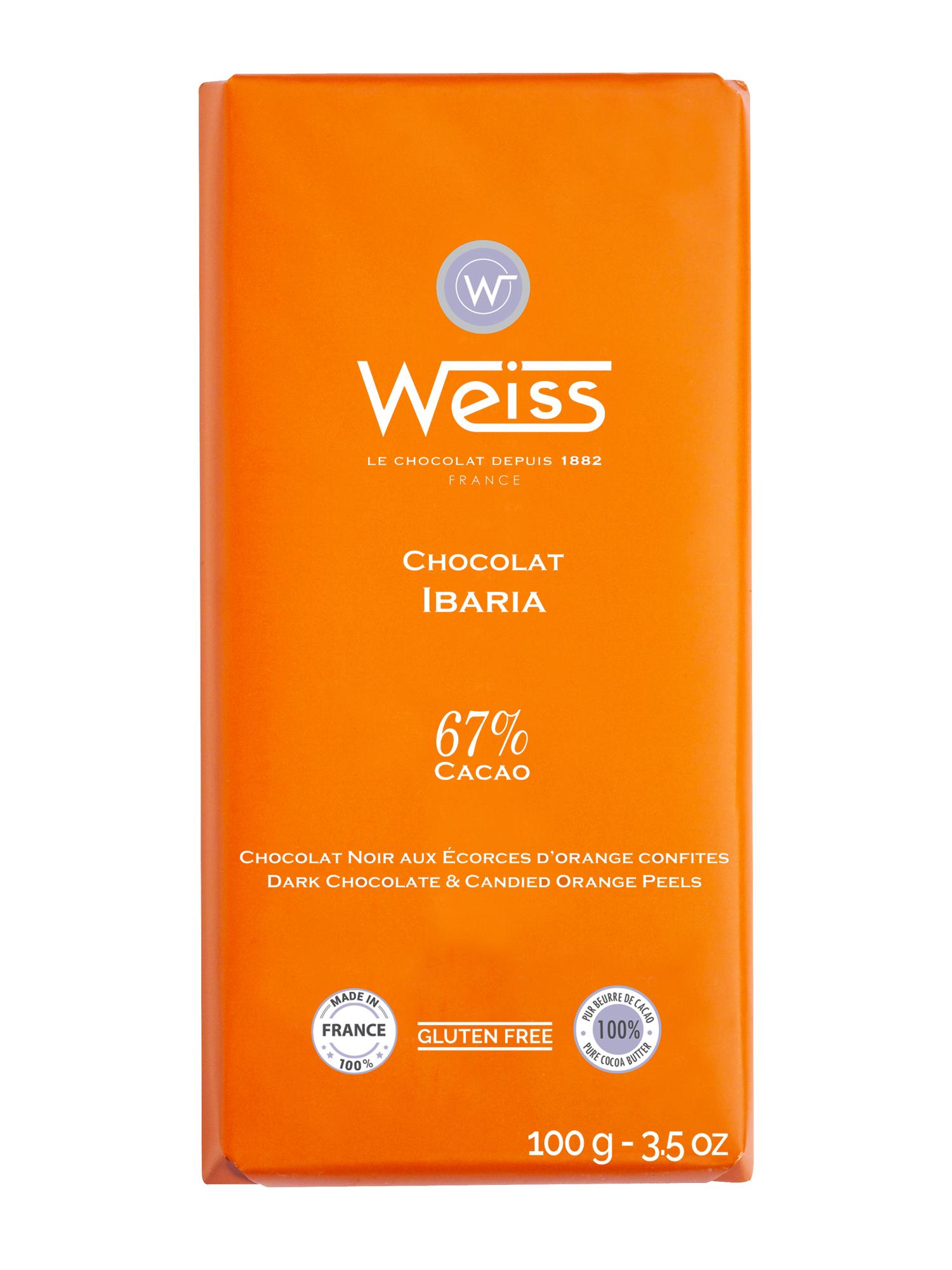 Tablette Ibaria chocolat noir aux écorces d'orange confites 67% de cacao, Weiss (100 g)