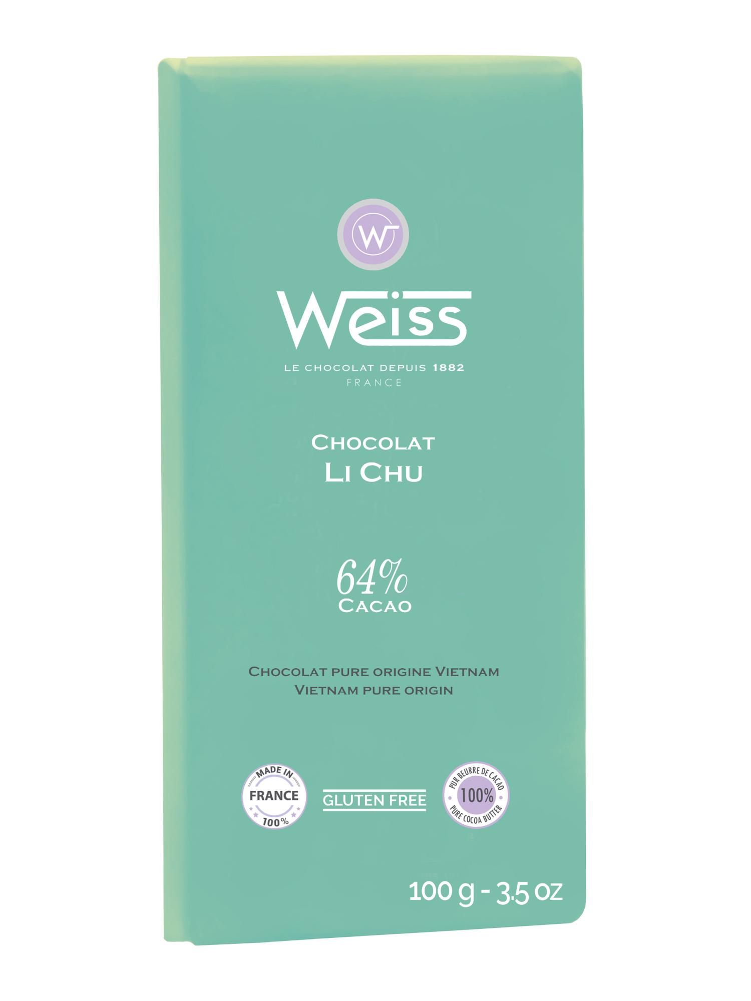 Tablette Li Chu 64% de cacao, Weiss (100 g)
