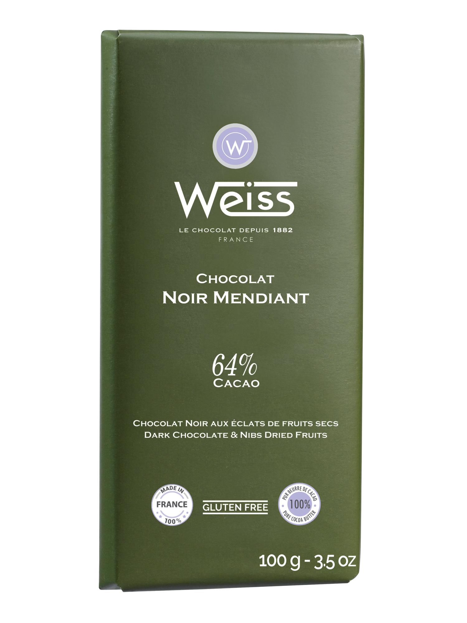 Tablette Mendiant chocolat noir éclats de fruits secs 64% de cacao, Weiss (100 g)