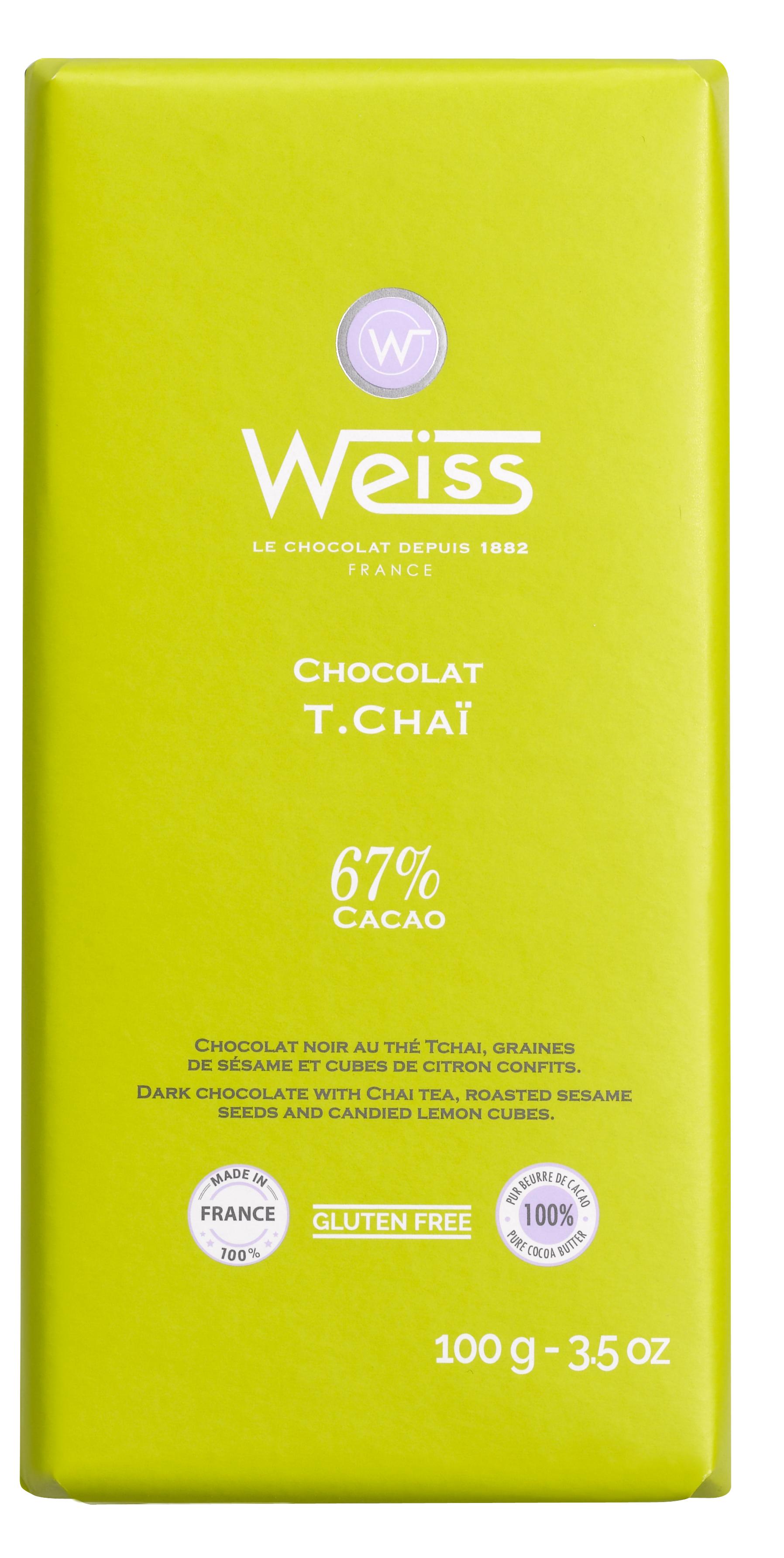 Tablette Thé Tchaï chocolat noir 67% de cacao, Weiss (100 g)