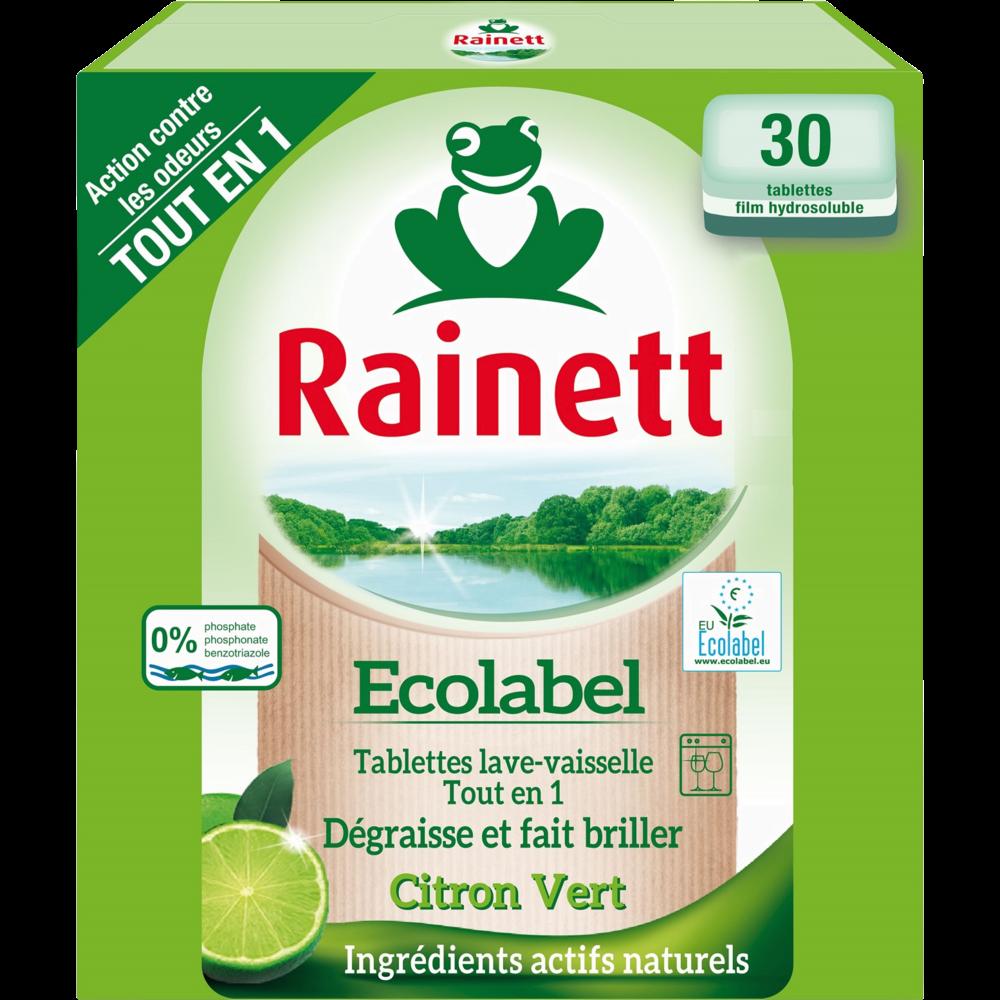 Tablettes pour lave-vaisselle tout en 1 citron vert, Rainett (x 30)