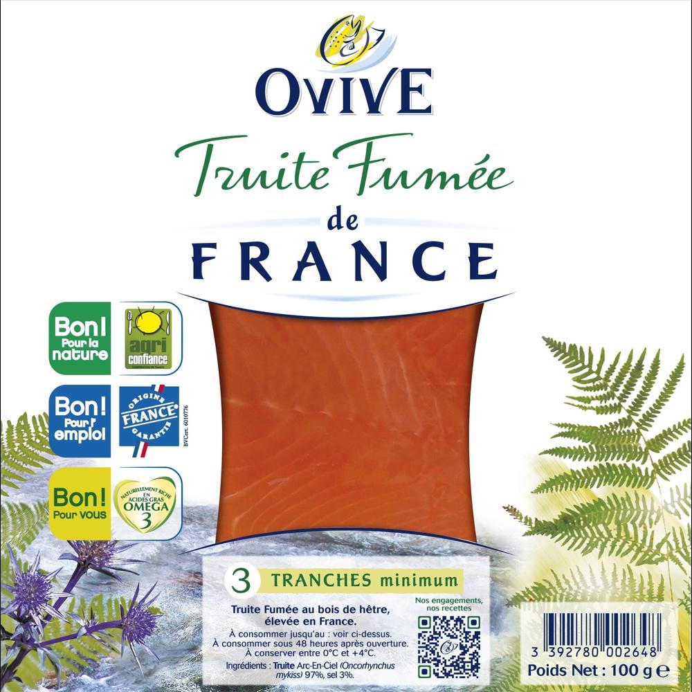 Truite fumée de France, Ovive (3 tranches, 100 g)