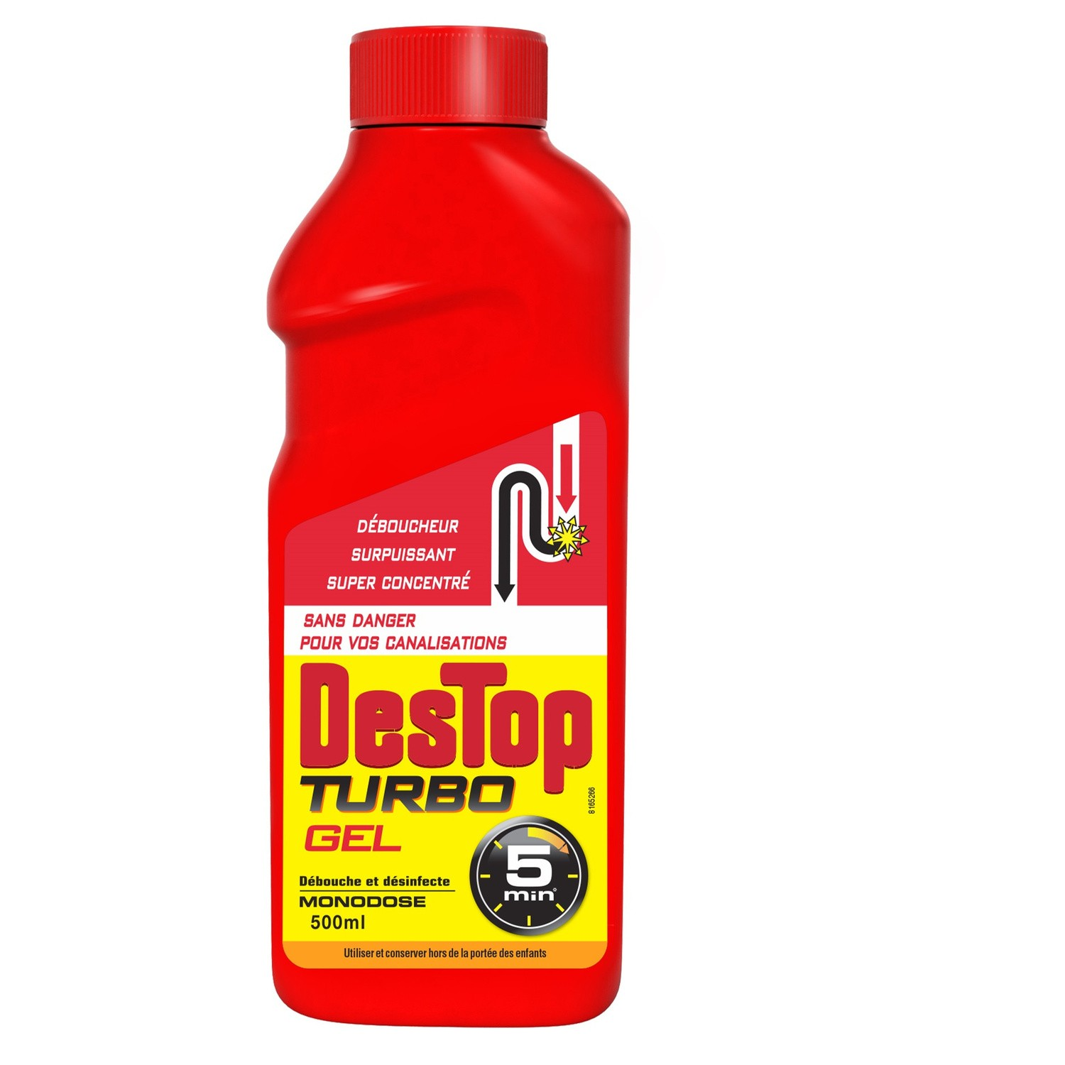 Gel liquide Turbo 5mn avec javel, Destop (500 ml)