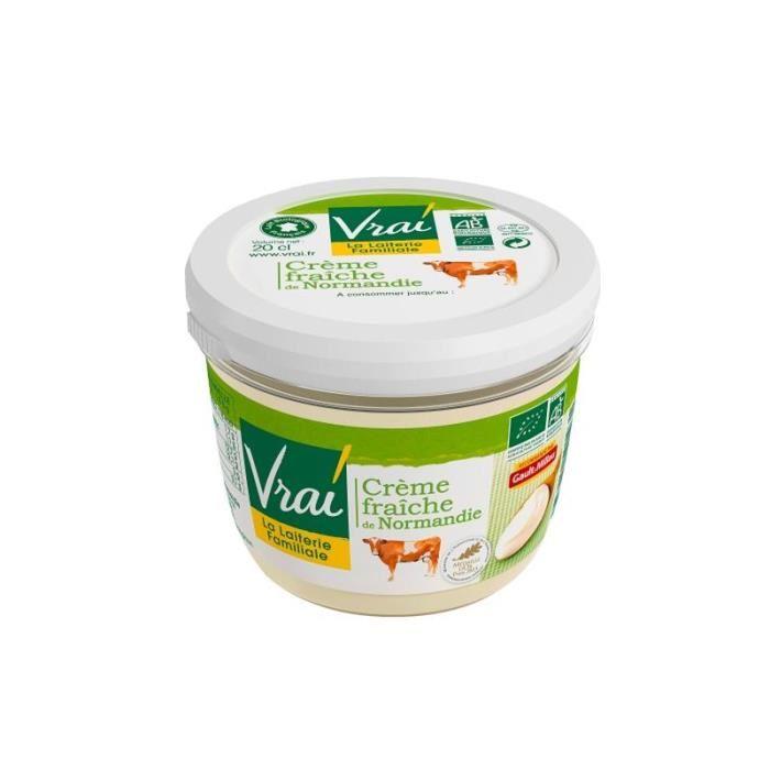 Crème fraiche épaisse de Normandie 38% de MG, Vrai (20 cl)