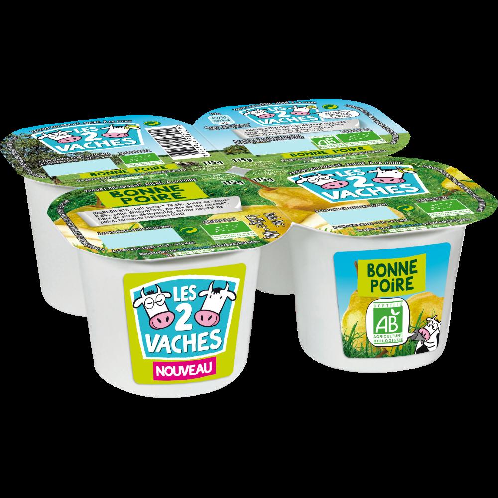 Yaourt à la bonne poire BIO, Les 2 Vaches (4 x 115 g)