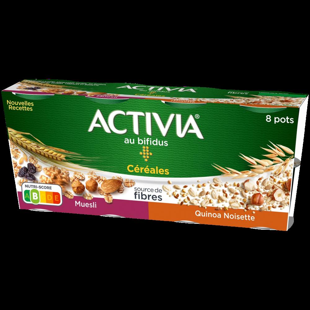 Yaourt céréales bifidus quinoa muesli noisette, Activia (8 x 120 g)