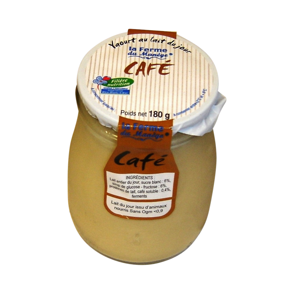 Yaourt entier brassé au lait du jour café, La Ferme du Manège (180 g)