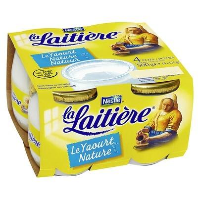Yaourt nature au lait entier, La Laitière (4 x 125 g)