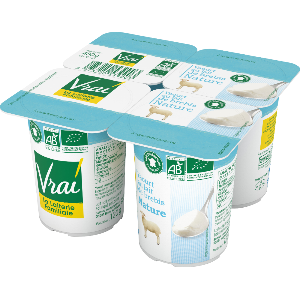 Yaourts au lait de brebis nature BIO, Vrai (x 4, 480 g)