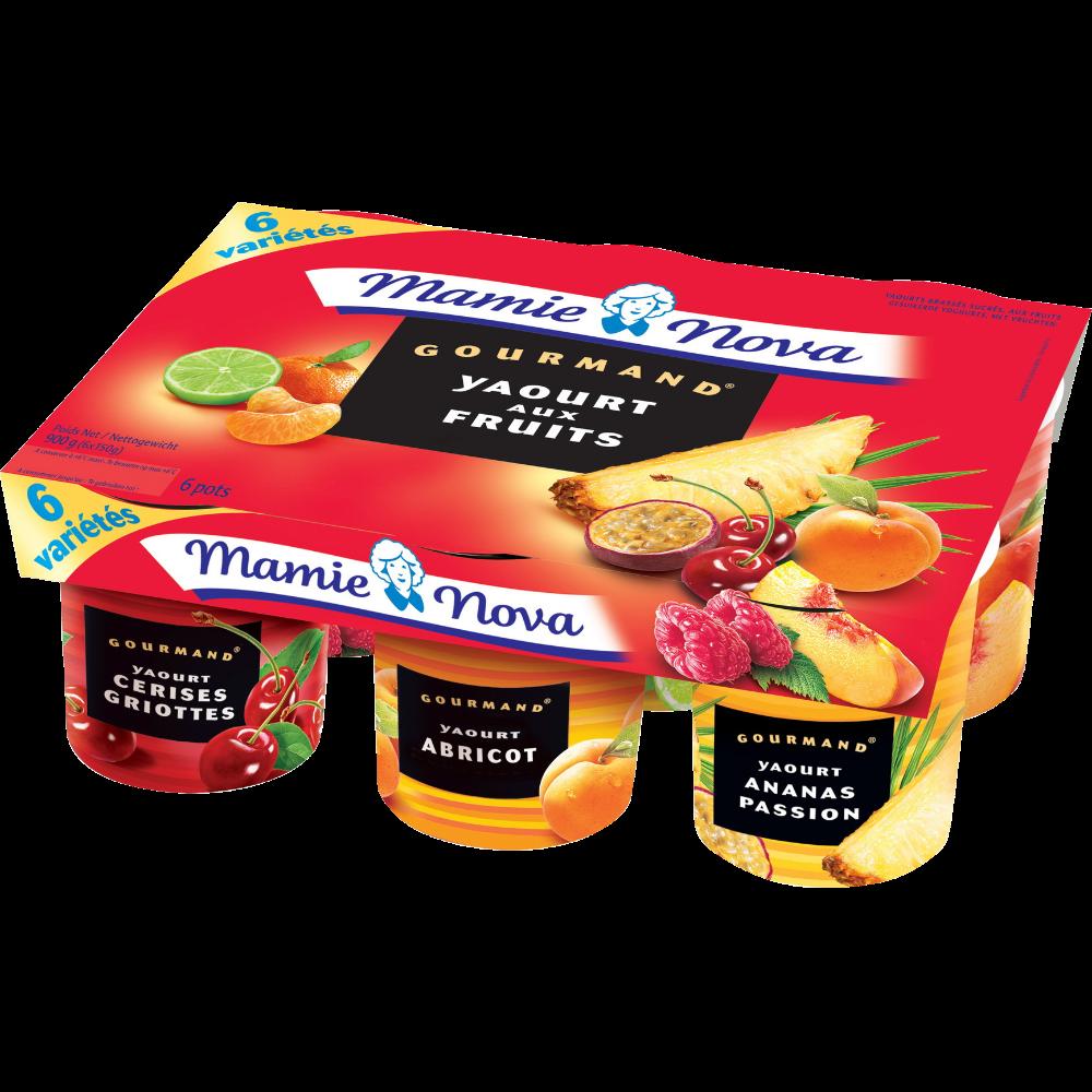 Yaourts Gourmands aux fruits panachés, Mamie Nova (6 x 150 g)