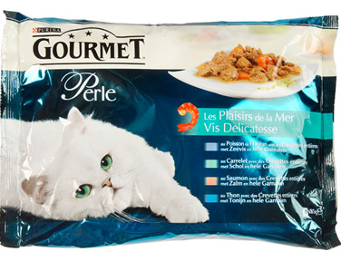 Les Plaisirs de la mer pour chats adultes, Gourmet Perle (4 x 85 g)