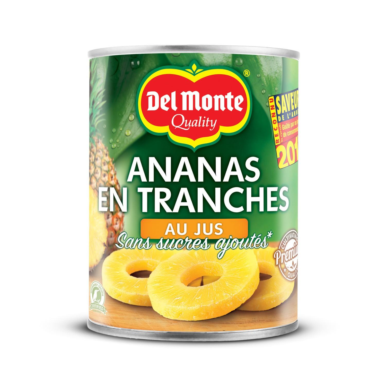 Ananas au sirop en tranches entières, Delmonte (10 tranches, 565 g)