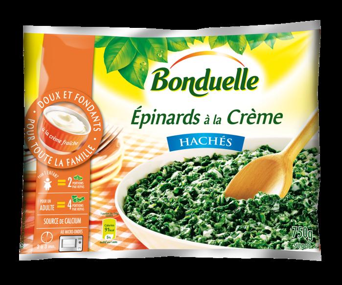 Epinard haché à la crème, Bonduelle surgelé (750 g)