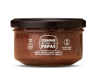 Purée fine de cerise griotte, pomme et pointe de vanille BIO - 8 mois Comme des Papas (130 g)