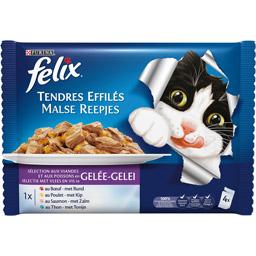 Effilés en gelée de viandes et poissons pour chats, Félix (4 x 100 g)