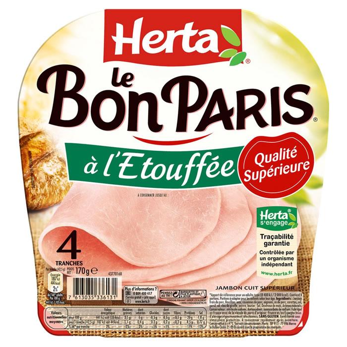 Jambon Le Bon Paris à l'étouffée sans couenne, Herta (4 tranches, 170 g)