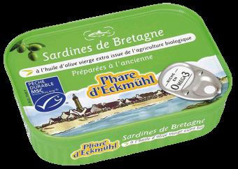Sardines à l'huile d'olive vierge extra, en boîte 1/5, Phare d'Eckmuhl (135 g)